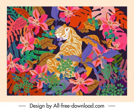 wild nature painting tiger floras decor classical design