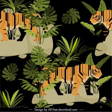 wild nature painting tigers leaf sketch dark multicolors