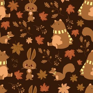 wild nature pattern rabbit bear squirrel leaf icons
