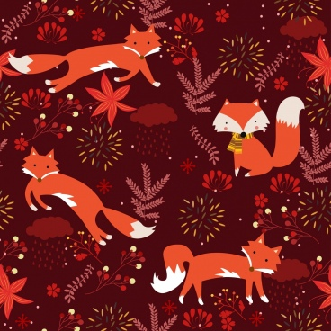 wild nature pattern red fox leaf icons decor