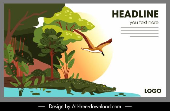 wild nature poster alligator bird forest sketch