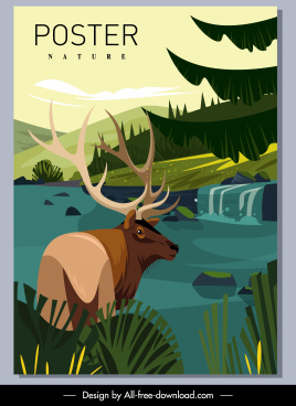 wild nature poster reindeer lake sketch cartoon design