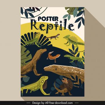 wild nature poster salamander gecko reptile animals sketch