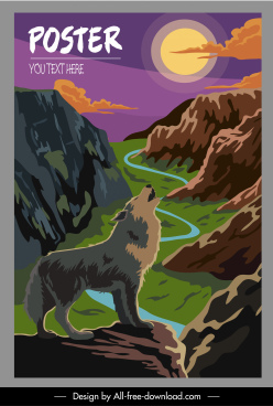 wild nature poster wolf mountain sketch classic design