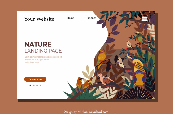 wild nature web template birds species sketch