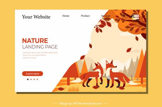 wild nature webpage template fox autumn decor