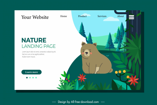 wild nature website template bear forest sketc