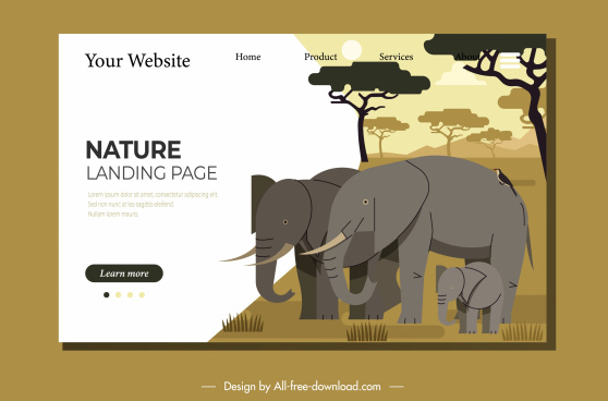 wild nature website template elephant sketch handdrawn flat