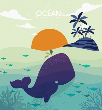 wild ocean background island whale icons