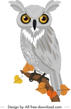 wild owl icon colored hanndrawn cartoon sketch