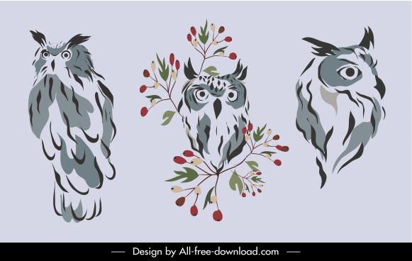 wild owl icons classic handdrawn sketch