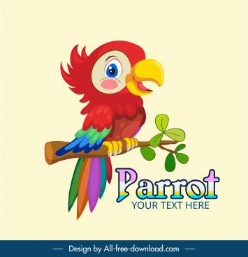 wild parrot icon cute cartoon sketch colorful design