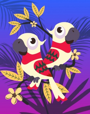 wild parrots background colored cartoon decor