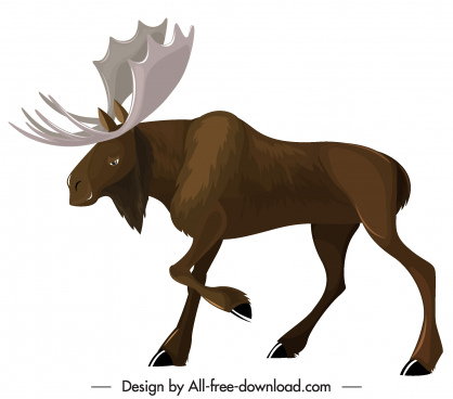 wild reindeer icon colored cartoon sketch modern design