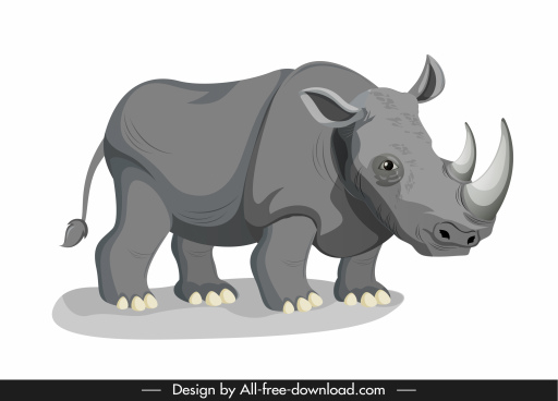 wild rhino icon grey sketch