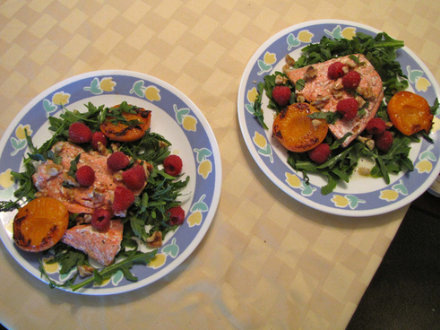 wild salmon with pan seared apricots and arugula