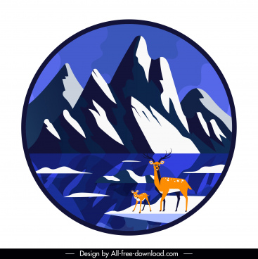 wild scene background mountain reindeers sketch circle isolation