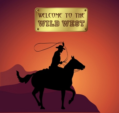 wild west advertising cowboy icon silhouette design