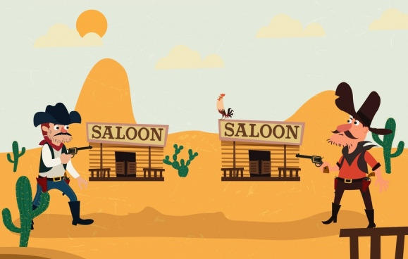 wild west background fighting cowboy icons colored cartoon