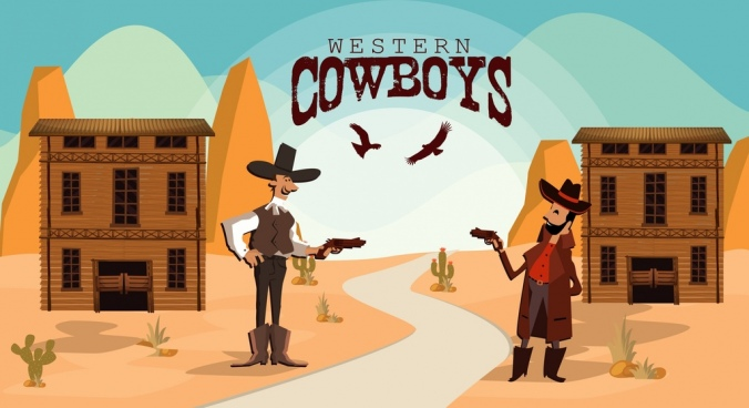 wild west banner cowboy duel colored cartoon