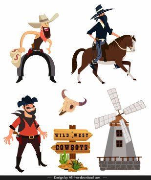 wild west cowboy design elements cartoon design