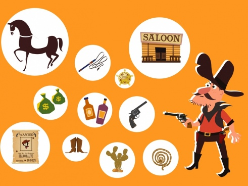 wild west cowboy design elements circle icons isolation