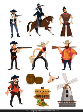 wild west design elements cartoon characters symbols sketch