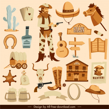 wild west design elements retro objects cowboy sketch