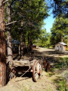 wild west scenery wooden wagon