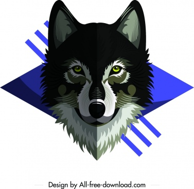 wild wolf animal icon symmetrical grey decor