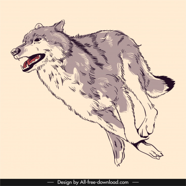 wild wolf painting dynamic handdrawn sketch classic design