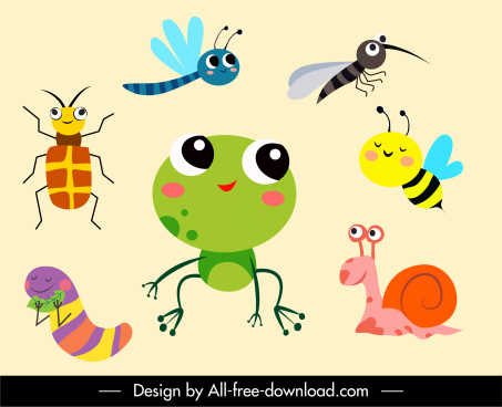 wilderness elements icons animals sketch cute cartoon characters