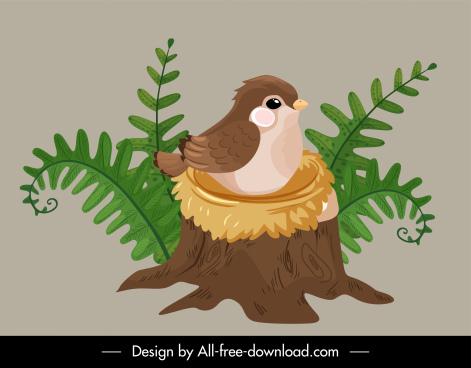 wilderness icon cute bird nest classic handdrawn