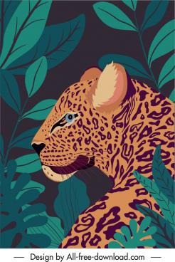 wilderness painting leopard sketch dark classic handdrawn