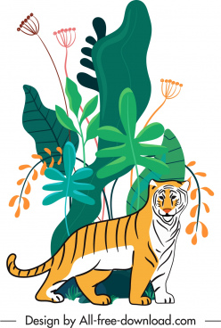 wilderness painting tiger sketch colorful flat handdrawn