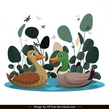 wilderness painting wild ducks pond sketch cartoon design