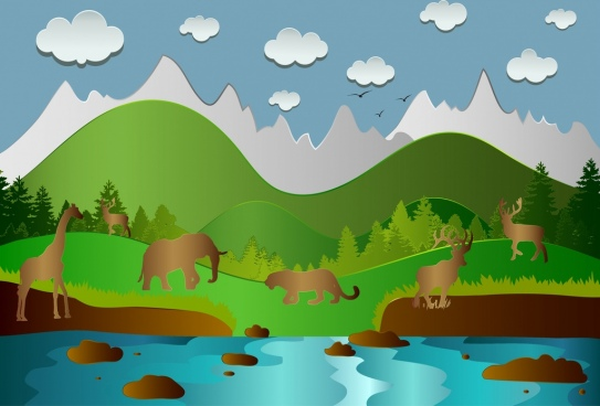 wildlife background animals silhouettes icons colorful design