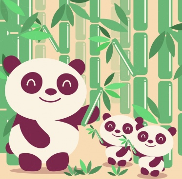 wildlife background bamboo panda icon colored cartoon design