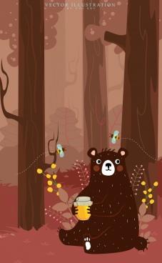 wildlife background brown bear honey bees cartoon design
