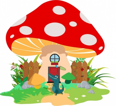 wildlife background crocodile mushroom icons colored cartoon decor