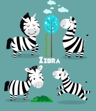 wildlife background cute zebra icon colored cartoon