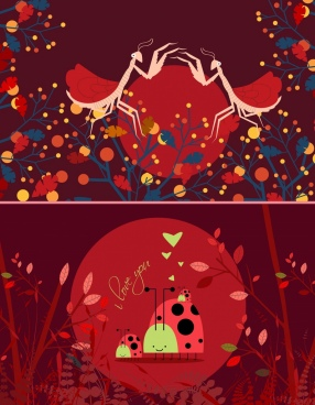 wildlife background dark red design grasshoppers ladybugs icons