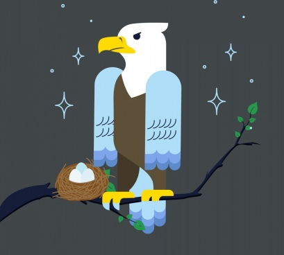 wildlife background eagle nest icons colored cartoon design