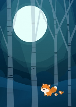 wildlife background fox round moon icons cartoon design