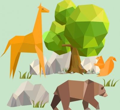 wildlife background giraffe bear squirrel icons polygonal decor