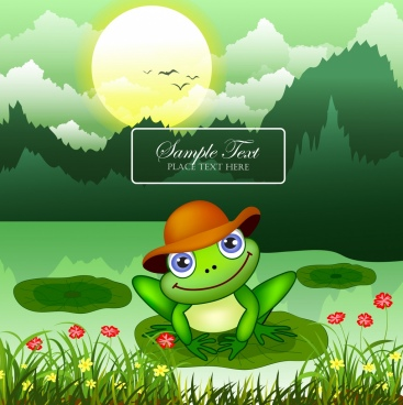 wildlife background green frog wild landscape colored cartoon