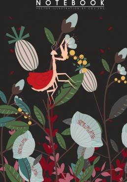 wildlife background mantis flowers icons dark design