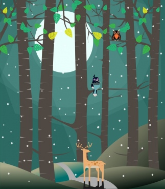 wildlife background moonlight deer bird icons decoration