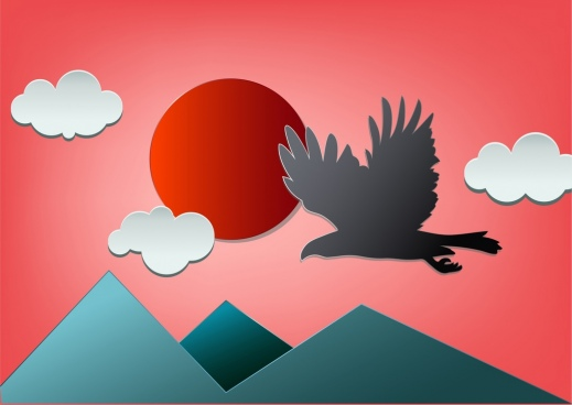 wildlife background paper cutting art eagle mountain icons