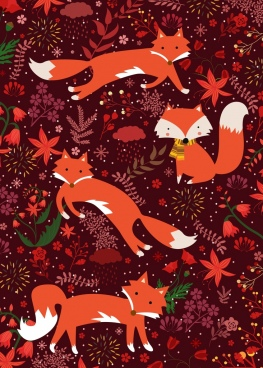 wildlife background red fox flowers icons repeating design